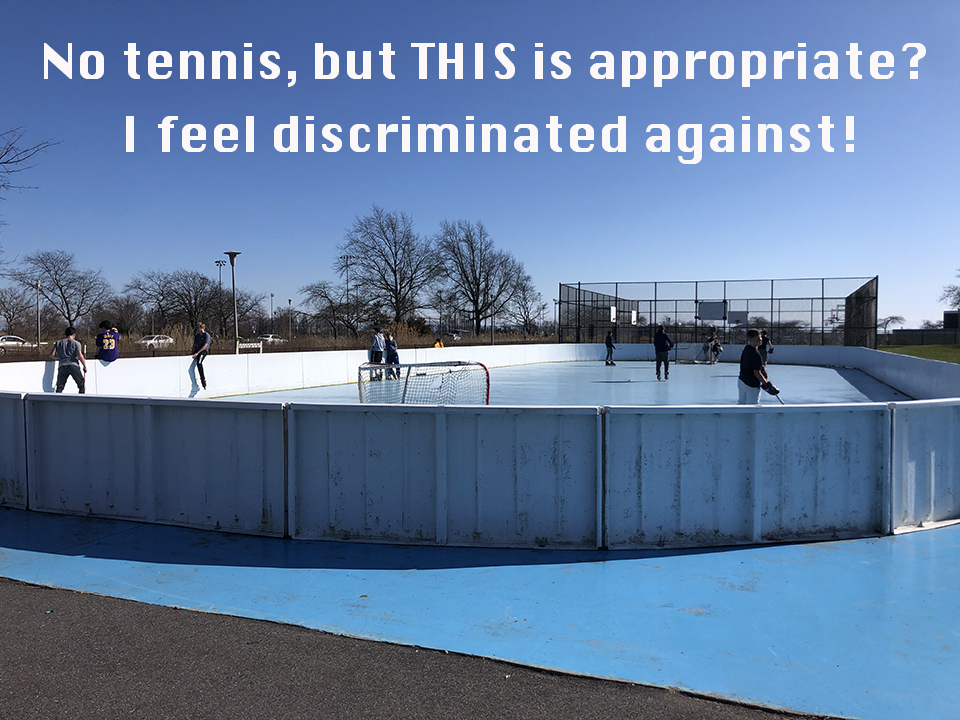 Kids playing hockey outside