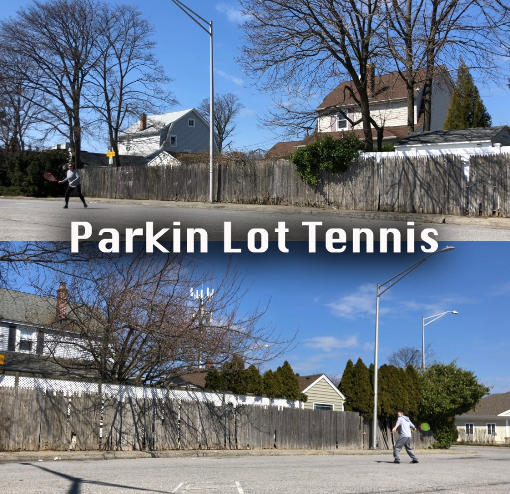Parking lot tennis and houses in the background