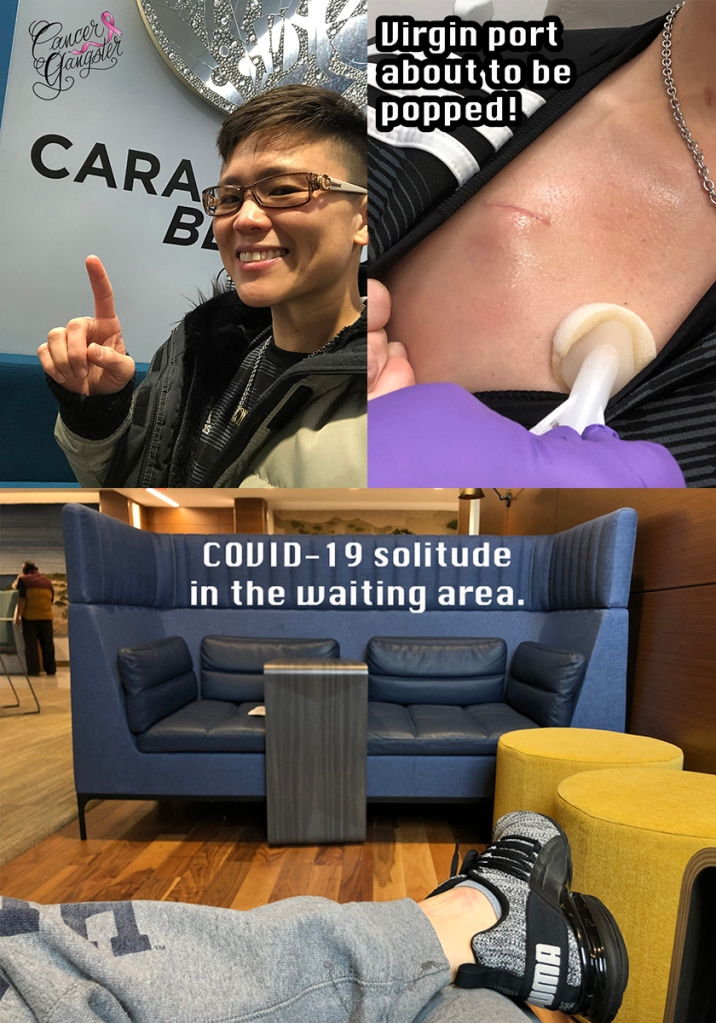 a college three pictures. Cara written on a wall, a picture of a port imbedded in skin, and a waiting area during COVID19/Coronavirus